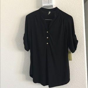 Elegant, silky black blouse;. NWT